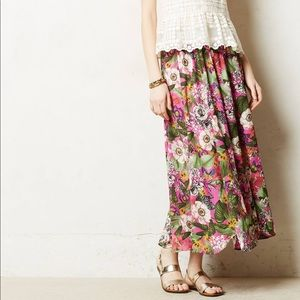 Maeve Tropical Forest Pink Flowy Maxi Skirt
